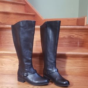Me Too 7.5 wide calf blk leather zip riding boots